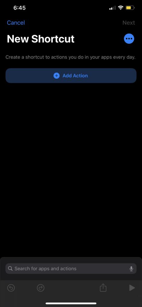 Shortcut screenshot