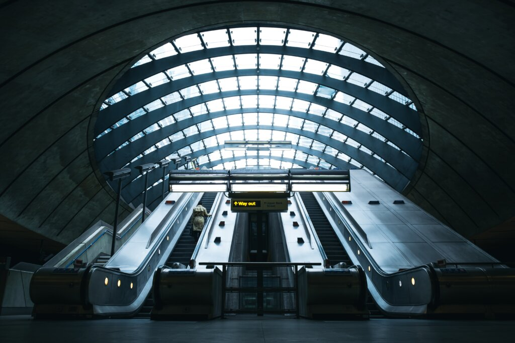Canary Wharf Station escalators in London