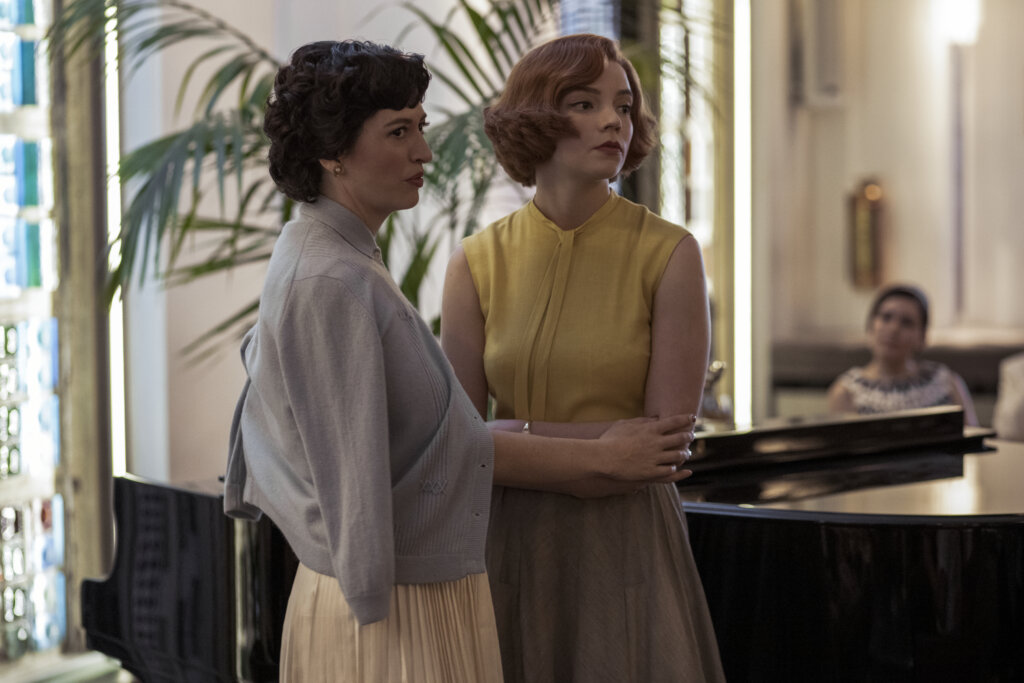 Beth and Alma in hotel lobby