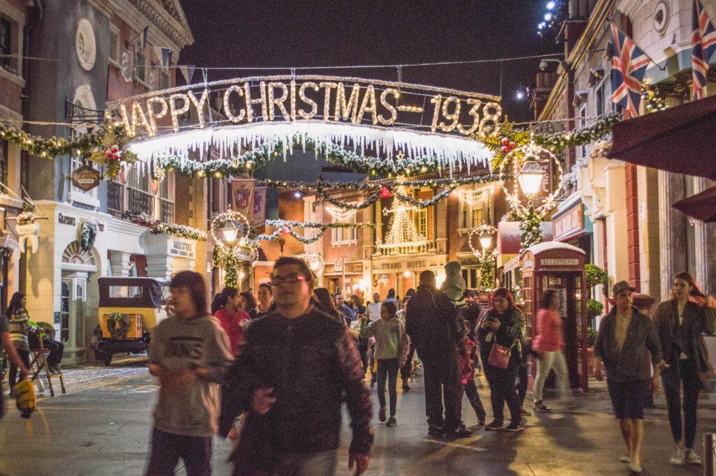 Christmas lights at night at Universal Studios Hollywood